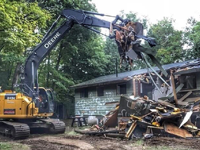 JCB working wood removal